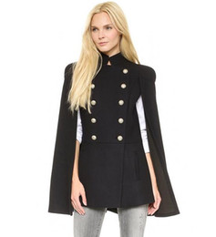 Wholesale Ladies Double Breasted Wool Coat - New Women Fashion Wool Cape Coat Double Breasted Trench Coat Winter Ladies Normal Poncho Black Outerwear