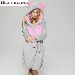 Wholesale Thick Nightgown - Wholesale-cosplay women Bathrobe robe cartoon pajamas nightgown hooded robe bathrobe leisurewear flannel winter thick