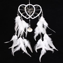 Wholesale Decorative Hang Wall - 2016 Hot Selling Dream Catcher Double Heart with Feathers Wall Hanging Decoration Ornament White Wedding Party Decoration