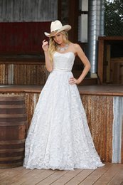 Wholesale Cheap Lace Gowns China - Full Lace White Lace Country Wedding Dresses 2016 New Arrival Cheap Simple Wedding Bridal Gown from China