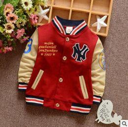 Wholesale Baseball Uniform Wholesale - Wholesale- 2016 New Boy Child Baseball Uniform Sports Jacket Autumn New Baby Cotton Sweater Sports Fight Sleeve Shirt Tide