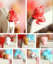 Wholesale Dust Plug Fox - Wholesale-3.5mm cute stereo animal head earphone dust plug pig fox bear chicken ear caps for iphone 6s 5s for samsung s6 s5