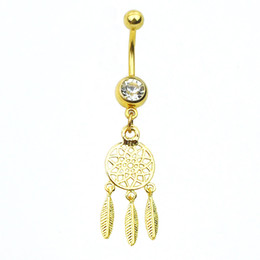 Wholesale Silver Dream Catcher - 0649 Dream Catcher Dangle 10 pcs silver and gold COLORS stones Belly Rings Navel naval Wholesale Lot drop shipping