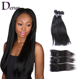 Wholesale Machined Parts - Free Part, Middle Part, 3 Part Top Lace Closure With 3 Bundles Silky Straight 100% Human Hair Brazilian Peruvian Indian Malaysian Hair