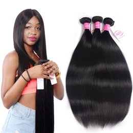 Wholesale Indian Weaving Natural Hair Colour - Mink Brazilian Virgin Hair Straight Remy Human Hair 3 Bundles Deals Unprocessed Brazilian Straight Hair Weave Extensions Natural Colour