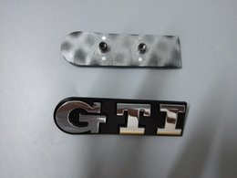 Gti emblemi badge online-Car styling 3D GTI Logo Car Emblems per Volkswagen ABS Plastic Front Car Badge con due colori