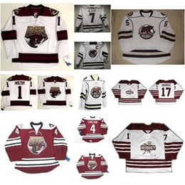 Wholesale Bears Red - 1 Brayden Holtby Mens Womens Kids AHL Hershey Bears 17 Bourque 100% Embroidery Custom Any Name Any No. Ice Hockey Jerseys Goalit Cut