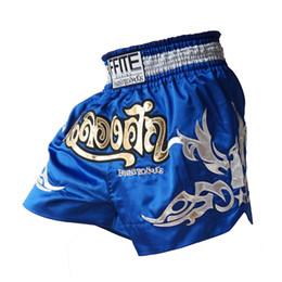 Broderie thaïlandaise en Ligne-Hommes Polyester Mma Shorts Muay Thai Boxe Shorts Pantalones Mma Bule Boxe Mma Tigre Kickboxing Boxeo Sanda Combat De Broderie