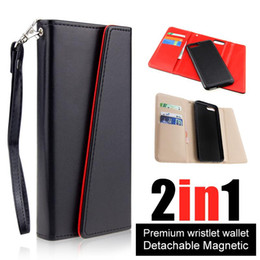 Wholesale Iphone Leather Wallet Wholesale - Premium luxury phone case For iphone X 8 7 6 6s plus Detachable Magnetic Snap-on PU Leather Wallet Cases Card Slot Flip Case Cover