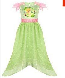 Wholesale Girls Dresses Tinker Bell - Tinker Bell Vestido green Cosplay costume Dress Nightdress for girls for party christmas