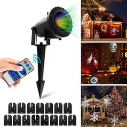 remote control patterns Promo Codes - Christmas Halloween LED Remote control Projector Light AC110-220V Outdoor Waterproof LED Pattern Lights 6W 15 Pattern Card Change Projecto