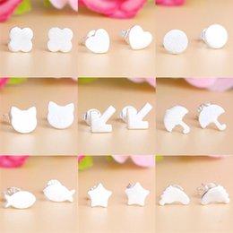 Wholesale Cheap Girls Studs - 2016 Hot Sale Women Girl 925 Sterling Silver Stud Earrings Geometry Shape Stud Earrings Fashion Cheap Jewelry Free Shipping