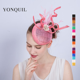 Wholesale hot pink wedding hat - 2017 Top quailty Pearl decoration fascinator hot pink sinamay fascinator feather wedding hats for race holiday show suit all season SYF196