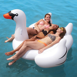 Wholesale Swimming Pools Inflatables - 1.5M PVC White Swan Swimming Float New Giant Swan Flamingo Inflatable Floats Swimming Ring Raft Swimming Pool Floating Toys