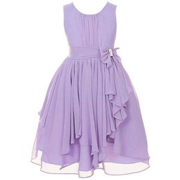 Wholesale Black White Striped Weddings - Kids Party Dress Girl Bowknot Princess Dress Sleeveless Chiffon Wedding Irregular Dress 13 Colors 7 p l