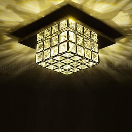 Wholesale Modern Square Ceiling Lights - BE61 Modern Simple Ressessed Wall Mouted Square Crystal Aisle Corridor Light Entrance Lights Home LED Ceiling Lamp Lighting Lamps