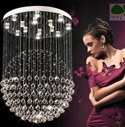 Wholesale Crystal Ceiling Chandelier - New Modern LED K9 Ball Crystal Pendant Light Chandelier Clear Ball Ceiling Light