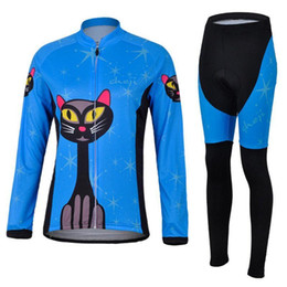 Wholesale Clothes Cyclist - Blue cat Women Pro Cycling Wear Long Sleeve  Winter Thermal Fleece White Clothing Maillot Cyclist Ropa Ciclismo Mountain Bike Equipment