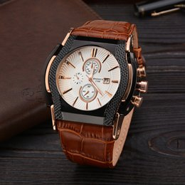 Wholesale Black Leather Belt Brass - Men Luxury Calendar Pointer Round Belt Quartz Watch Alloy Shell Variety Of Colors Fine Fashion Watches