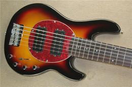 Wholesale Custom Electric Bass Guitars - Custom Music Man 4 Strings Bass Erime Ball StingRay White Electric Guitar Black Pickguard 9V Battery Active Pickups String Thru BodyCustom M