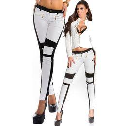 Wholesale Women S European Pants - Women Spring Autumn Polyester Patchwork Pencil Pants European Style Zipper Stitching Slim Trouser Black White