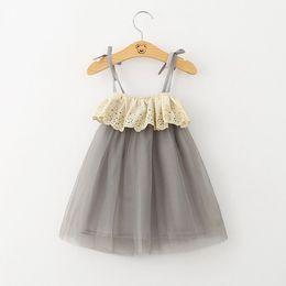 Wholesale Lace Ribbons Wholesale - INS Summer Fashion Flower tutu dresses Girl's dress sleeveless vest ribbon pure cotton net yarn baby lace dress 2-6Year