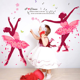 Wholesale Kids Ballet Stickers - Dance Ballet Girls Wall Stickers for Kids Rooms Sofa Television 3D Nursery Wall Decals Butterfly Wallpaper Poster Home Decoration 60*90CM
