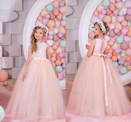 Wholesale Girls Fur Vests - 2016 Summer Flower Girl Dresses For Weddings Ball Gown Princess Floor Length White Lace Tulle Appliques Flower Girl Dress Pageant Gowns