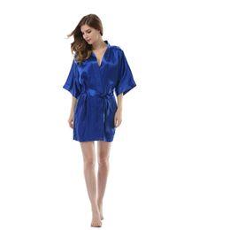 Wholesale- Colorfulkoala Women Satin Solid Color Kimono Robe Silk Pajamas  Dress Nightgown Summer Bath Robe 23929f6c0