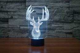 Wholesale led deer christmas - 2017 Deer Horn 3D Optical Lamp Light 9 LEDs Night Light DC 5V Colorful 3D Lamp Touch Control Switch Retail package