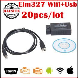 Wholesale Auto Usb Vw - Factory price!!Free DHL usb elm327 wifi 20pcs lot elm327 usb wifi Auto Code Scanner Supports Android IOS PC with high quality