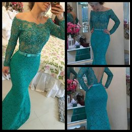 Wholesale Vintage Bow Saw - Fashion Long Sleeve Mermaid Evening Dress 2016 Sexy See Through Back Crystal Appliques Lace Evening Prom Gowns With Pearls