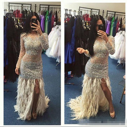 Wholesale Sexy Gorgeous Evening Dress Cheap - Gorgeous 2016 Cheap Crystals Beaded Mermaid Prom Dresses With Feather Sexy Front Split Plus Size Arabic Women Evening Special Occasion Gowns