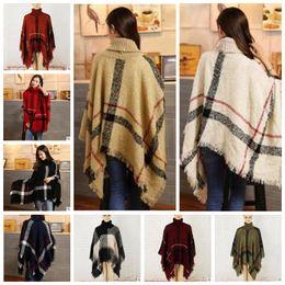 Wholesale Turtle Acrylic - Plaid Poncho Scarf Women Tassel Fashion Wraps Vintage Knit Scarves Tartan Winter Cape Grid Shawl Cardigan Blankets Cloak Coat Sweater A3026