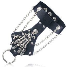 Wholesale Leather Wristband Skull - Wholesale-Unisex Cool Punk Rock Gothic Skeleton Skull Hand Glove Chain Link Wristband Bangle Leather Bracelet S244