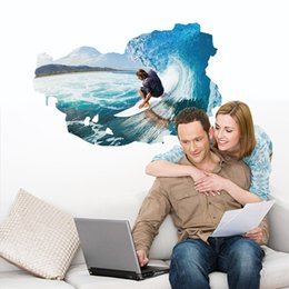 Wholesale Wall Decal Sea Removable - The Big Blue Surfing Man Wall Stickers Rough Sea Surfer Wall Art Mural Poster Living Room Bedroom Boys Teens Room Wall Applique Decor Mural
