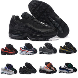 Wholesale Tennis Shoes For Cheap - Discount New Air Cushion 95 Running Shoes For Men Black White Mens Athletic walking Tennis Shoes Cheap Grey Man Trainers Sports Sneakers