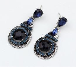 Классический стиль партии ювелирные изделия женщины темно-синий алмаз Eaerrings 10prs кулон серьги девушки старинные каменные серьги Бесплатная доставка от Поставщики синий бриллиант винтажный кулон