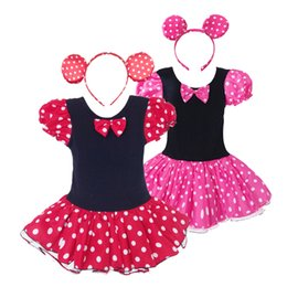 Wholesale Cute Minnie Mouse Costume - Mickey Mouse Girl Christmas Dress Kids Baby Headband Ballet Dance Costume Birthday Party Dresses Cute Minnie Cosplay Sundress