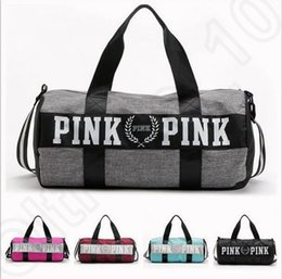 Wholesale Shoulder Totes Wholesale - Women Handbags Pink Letter Large Capacity Travel Duffle Striped Waterproof Beach Bag Shoulder Bag 30pcs OOA781
