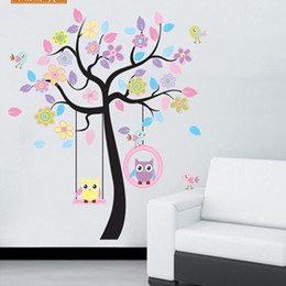 Wholesale Giant Removable Wall Stickers - New Removable Vinyl Wall Stickers 10PCS LOT Colorful Tree And Owls Home Decor Giant Wall Decals For Kids Rooms