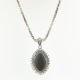 Wholesale Vintage Necklace Oval - N2613G Oval Necklace Black Lava Rock Volcano Pendant Vintage Look Tibet Alloy Antique Silver Old Looking