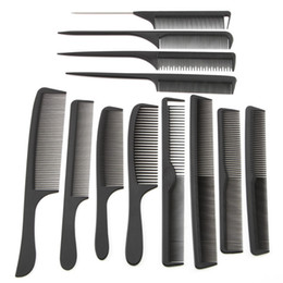 Wholesale hair styling design - Wholesale 12 Style Hairdressing Black Hair Cutting Comb Carbon Hair Tail Combs Different Design Pro Salon Barber Styling Tools