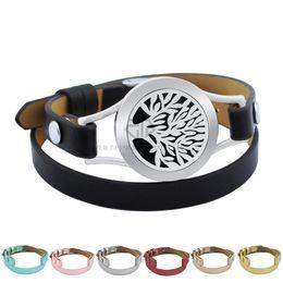 Nouveau aimant acier arbre de vie 25mm noir en cuir véritable aroma médaillon bracelet en acier inoxydable huile essentielle médaillon en cuir bracelet ? partir de fabricateur