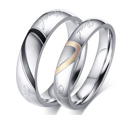 Wholesale Real Silver Finger Ring - Fashion Real Love Heart Stainless Steel Couple Finger Rings New Engagement Wedding Lover Promise Rings Women Men Jewelry