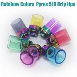 Punte di gocciolamento pyrex vetro ampio foro online-Top Rainbow Glass Bore Drip Tips 510 Boccaglio in acciaio inox Pyrex colorato punta dripper RBA RDA Mods vaporizzatore Atomizzatore Dripping