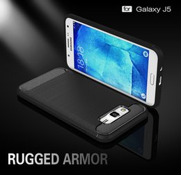 Wholesale Carbon Fibre Brush - Phone Cover Case For Samsung Galaxy J5 2015 SM-J500F YC955 j500 J500H J500F J5008 J5000 Cases Carbon Fibre Brushed TPU Silicone