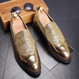 Wholesale Thick Soled Wedding Shoes - Handmade Male Leather Dress Sgies Thick Soled Platform Shoes for Men Carved Sequins Set Foot Shoes, EU38-43