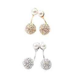 Wholesale Pearl Ring White Gold - Fashion Jewelry Stud Earrings Women Elegant Pearl Rhinestone Ear Clip Ear Stud Earring crystal fully-jewelled Earing Ear Ring Accessories