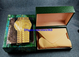 Wholesale Wholesale Watch Boxes For Men - 3pcs Free shipping Luxury watch Mens For Watch Box Original Inner Outer Womans Watches Boxes Men Wristwatch Green box certificate